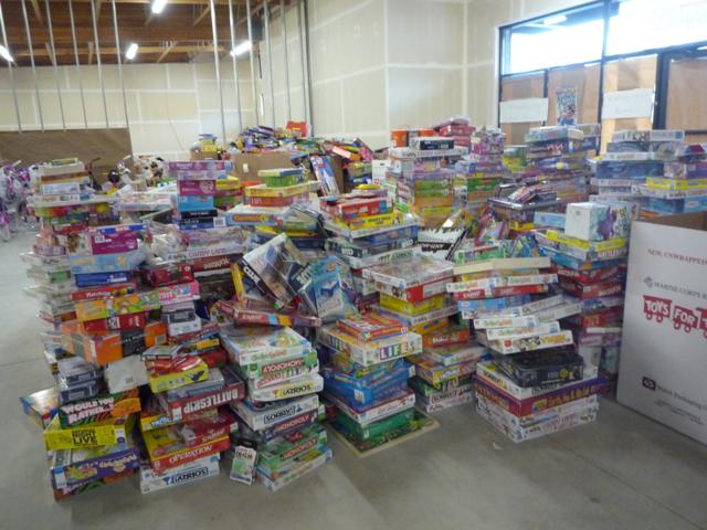 Piles of belongings