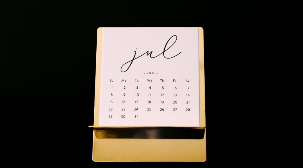 photo of July calendar page