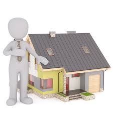 man standing next to house